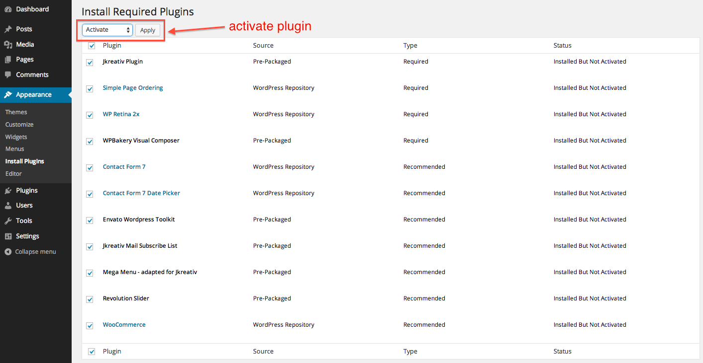 Activate Required Plugins
