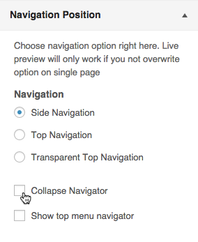 Side Navigation Options