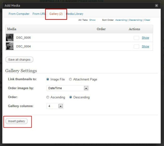Add Media Option from Gallery