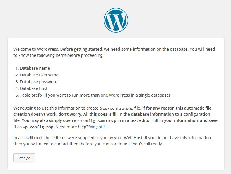 WordPress Prepare Installation