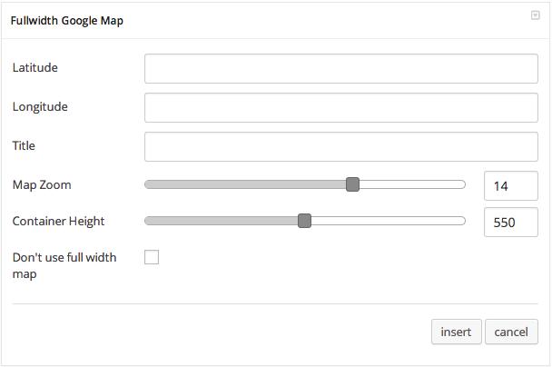 Fullwidth Google Map Settings