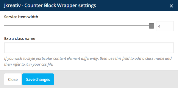 JKreativ - Counter Block Wrapper Settings