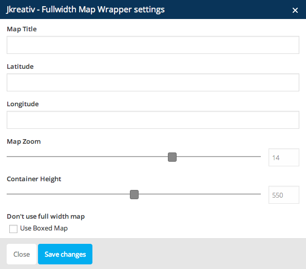 JKreativ - Fullwidth Map Wrapper Settings