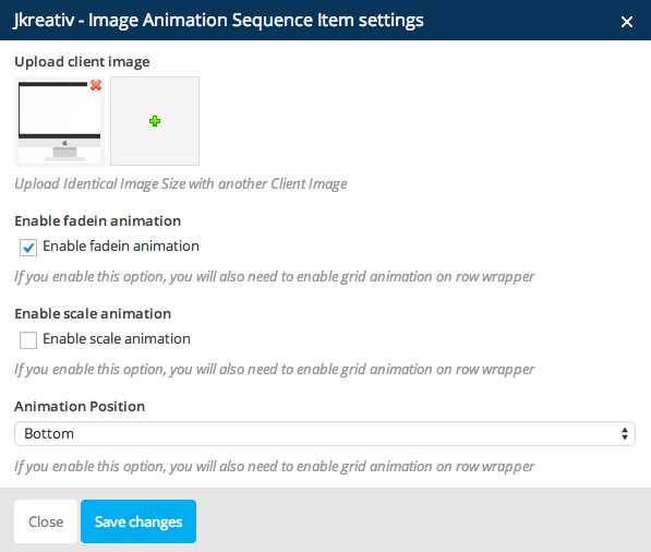 JKreativ - Image Animation Sequence Settings