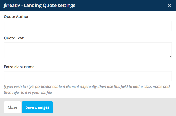 JKreativ - Landing Quote Settings