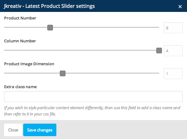 JKreativ - Latest Product Slider Settings