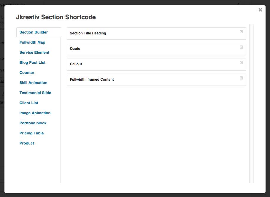 JKreativ Section Shortcode List