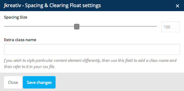 JKreativ - Spacing & Clear Floating Settings