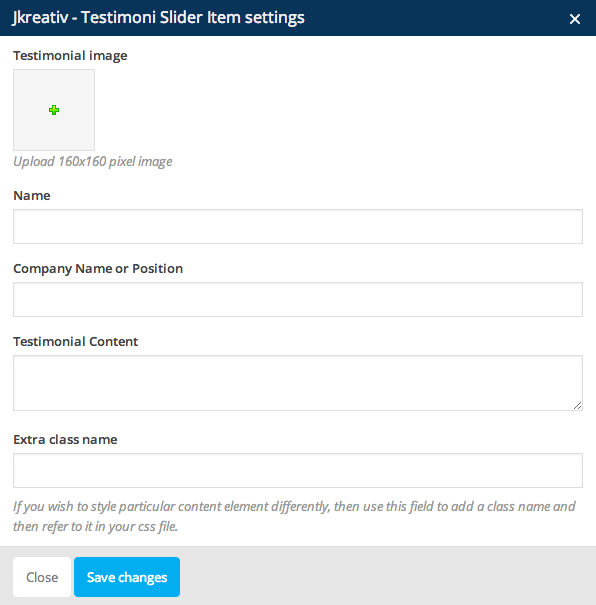 JKreativ - Testimoni Slider Item Settings
