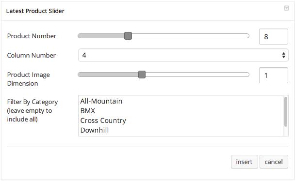 Latest Product Slider Settings