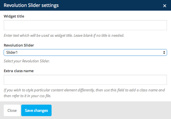 Revolution Slider Settings