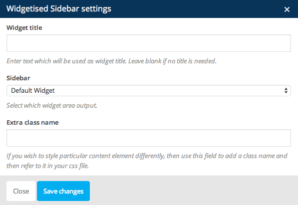 Widget Sidebar Settings