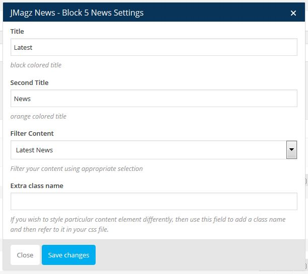 News Block 5 Setting